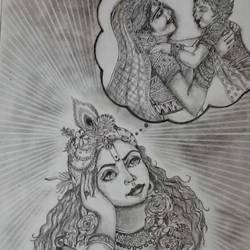 lord krishna, 12 x 19 inch, samarth shejale,12x19inch,thick paper,drawings,paintings for living room,radha krishna drawings,paintings for living room,graphite pencil,GAL01786629015