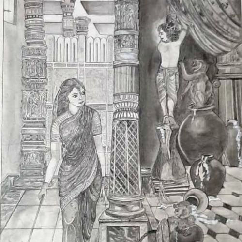 yashodha with krishna affection, 17 x 23 inch, samarth shejale,17x23inch,thick paper,paintings for living room,paintings for office,paintings for hotel,radha krishna drawings,paintings for living room,paintings for office,paintings for hotel,graphite pencil,GAL01786629016