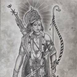 lord rama, 15 x 24 inch, samarth shejale,15x24inch,thick paper,drawings,figurative drawings,paintings for living room,graphite pencil,paper,GAL01786629017