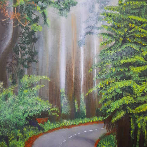 road in forest , 12 x 16 inch, rupa patel,12x16inch,canvas,landscape paintings,paintings for living room,paintings for living room,oil color,GAL01734629022