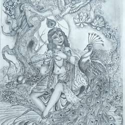 krishna art, 12 x 17 inch, hemlata shejale,12x17inch,ivory sheet,drawings,radha krishna drawings,paintings for dining room,paintings for living room,paintings for office,paintings for kids room,paintings for school,graphite pencil,paper,GAL01786629025