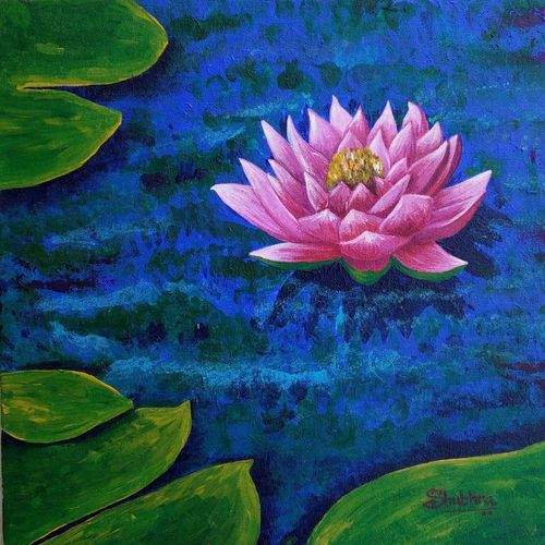 lotus, 12 x 12 inch, shubhra jain,12x12inch,canvas board,paintings,flower paintings,nature paintings | scenery paintings,paintings for living room,paintings for bedroom,paintings for hotel,paintings for school,paintings for hospital,acrylic color,GAL01778229028