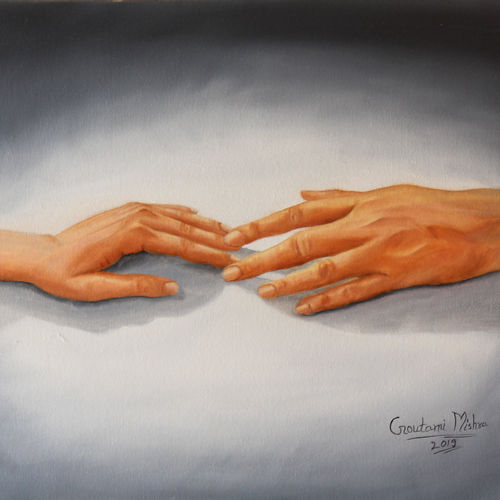 first touch of love, 20 x 16 inch, goutami mishra,20x16inch,canvas,paintings,figurative paintings,modern art paintings,portrait paintings,expressionism paintings,photorealism paintings,photorealism,realism paintings,contemporary paintings,realistic paintings,love paintings,paintings for dining room,paintings for living room,paintings for bedroom,paintings for hotel,oil color,GAL046529029