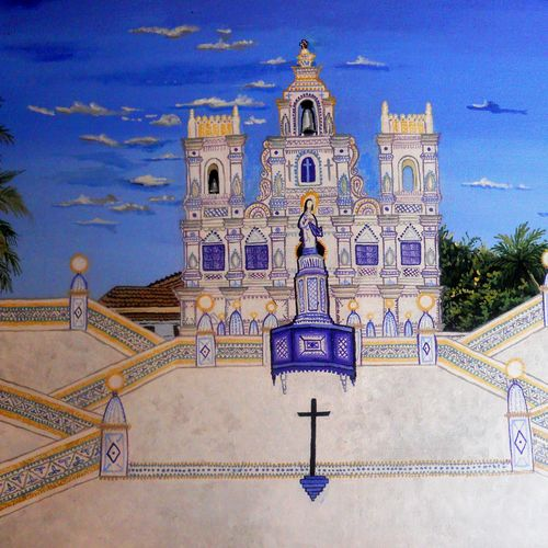 beautiful church, 32 x 16 inch, amruta dabhekar,abstract paintings,paintings for living room,canvas,acrylic color,32x16inch,GAL09542903