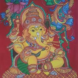ganesha kerala mural painting , 18 x 24 inch, divya ashiq,18x24inch,canvas,ganesha paintings | lord ganesh paintings,paintings for living room,paintings for living room,acrylic color,fabric,GAL01789929030