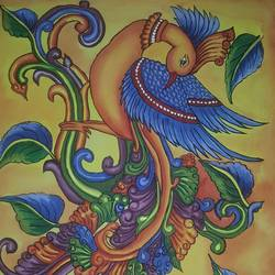 peacock mural, 18 x 23 inch, divya ashiq,18x23inch,canvas,art deco paintings,kerala murals painting,paintings for living room,paintings for living room,acrylic color,fabric,GAL01789929031