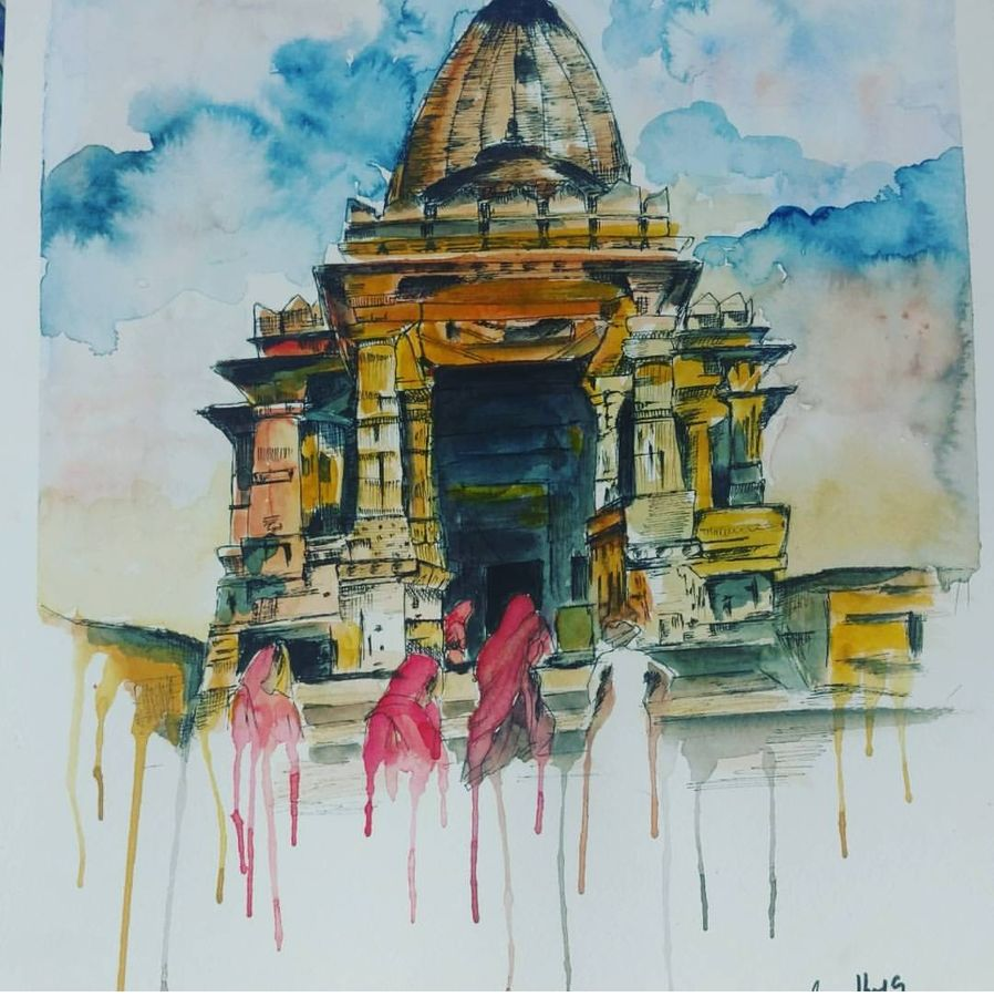 indian temple, 17 x 12 inch, sandhya singh,17x12inch,canson paper,paintings,abstract paintings,modern art paintings,religious paintings,paintings for dining room,paintings for living room,paintings for bedroom,paintings for office,paintings for bathroom,paintings for hotel,paintings for kitchen,paintings for hospital,watercolor,GAL0874929033