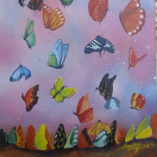 butterflies, 14 x 18 inch, sandhya singh,14x18inch,canvas,paintings,abstract paintings,figurative paintings,nature paintings | scenery paintings,paintings for dining room,paintings for living room,paintings for bedroom,paintings for office,paintings for bathroom,paintings for kids room,paintings for hotel,paintings for kitchen,paintings for school,paintings for hospital,acrylic color,GAL0874929034