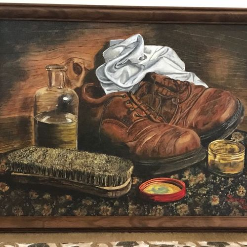 ragged shoes with polish accessories , 18 x 24 inch, suman  chawla ,18x24inch,canvas,paintings,realism paintings,paintings for living room,paintings for bedroom,paintings for office,paintings for kids room,paintings for hotel,acrylic color,GAL01767429036