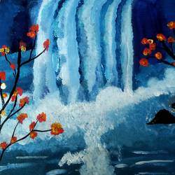waterfall beauty, 40 x 40 inch, aruna sriram,40x40inch,canvas,paintings,landscape paintings,acrylic color,GAL01791729041