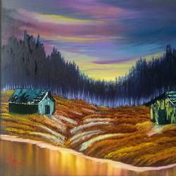 dreamy sunset, 24 x 20 inch, dipali deshpande,nature paintings,paintings for living room,canvas,oil,24x20inch,GAL01632905Nature,environment,Beauty,scenery,greenery,trees,houses,beautiful,leaves