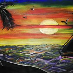 sun rise and nature, 16 x 12 inch, sheetal agrawal,16x12inch,cartridge paper,paintings,landscape paintings,modern art paintings,nature paintings | scenery paintings,paintings for dining room,paintings for living room,paintings for bedroom,paintings for office,paintings for kids room,paintings for hotel,paintings for kitchen,paintings for school,paintings for hospital,poster color,GAL01792329052