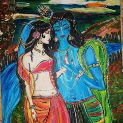 radha krishna love, 16 x 12 inch, sheetal agrawal,16x12inch,cartridge paper,paintings,modern art paintings,religious paintings,love paintings,paintings for dining room,paintings for living room,paintings for bedroom,paintings for office,paintings for hotel,acrylic color,GAL01792329053