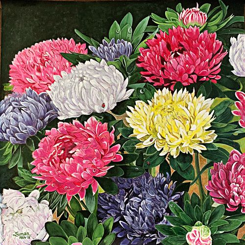 chrysanthemums , 24 x 24 inch, suman  chawla ,24x24inch,canvas,paintings,flower paintings,nature paintings   scenery paintings,photorealism paintings,photorealism,realistic paintings,paintings for dining room,paintings for living room,paintings for bedroom,paintings for office,paintings for bathroom,paintings for kids room,paintings for hotel,paintings for kitchen,paintings for school,paintings for hospital,acrylic color,GAL01767429056