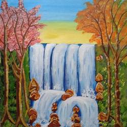 the waterfall, 16 x 16 inch, abhik mahanti,16x16inch,canvas,paintings,landscape paintings,nature paintings | scenery paintings,acrylic color,GAL0404429059