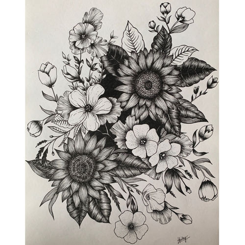 bouquet of flowers , 12 x 17 inch, hailey doshi,12x17inch,paper,flower paintings,paintings for dining room,paintings for living room,paintings for bedroom,paintings for hotel,paintings for dining room,paintings for living room,paintings for bedroom,paintings for hotel,ball point pen,GAL0588329070