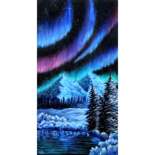dancing aurora , 17 x 22 inch, hailey doshi,17x22inch,canvas,paintings,landscape paintings,paintings for dining room,paintings for living room,paintings for office,paintings for hotel,acrylic color,GAL0588329073