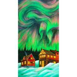 dramatic aurora borealis, 17 x 22 inch, hailey doshi,17x22inch,canvas,paintings,landscape paintings,paintings for dining room,paintings for living room,paintings for bedroom,paintings for hotel,acrylic color,GAL0588329074