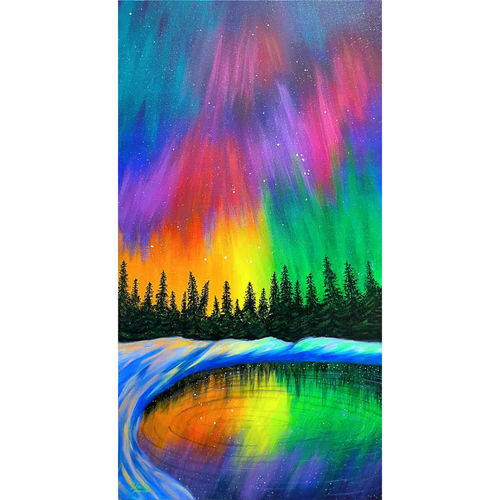 splash of northern lights, 17 x 22 inch, hailey doshi,17x22inch,canvas,paintings,landscape paintings,paintings for dining room,paintings for living room,paintings for office,paintings for hotel,acrylic color,GAL0588329075