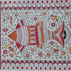 madhubani painting, 27 x 17 inch, biswarup maiti,27x17inch,handmade paper,paintings,madhubani paintings | madhubani art,paintings for living room,paintings for office,paintings for hotel,paintings for school,paintings for hospital,acrylic color,ball point pen,GAL01670629086