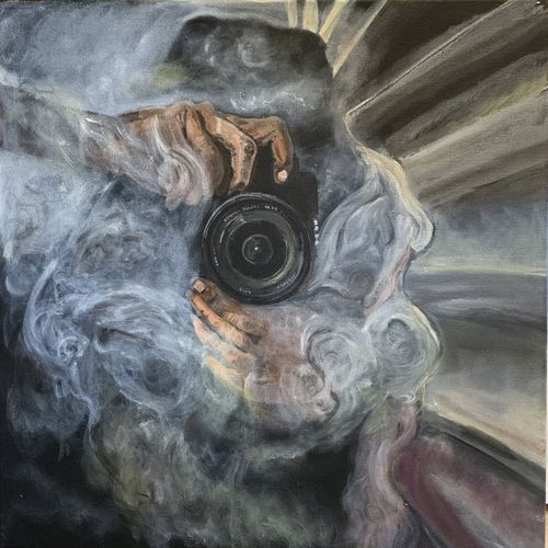 captured in smoke, 20 x 20 inch, kanchan joshi,20x20inch,canvas,paintings,portrait paintings,realism paintings,realistic paintings,paintings for dining room,paintings for living room,paintings for bedroom,paintings for office,paintings for dining room,paintings for living room,paintings for bedroom,paintings for office,acrylic color,GAL01699429089