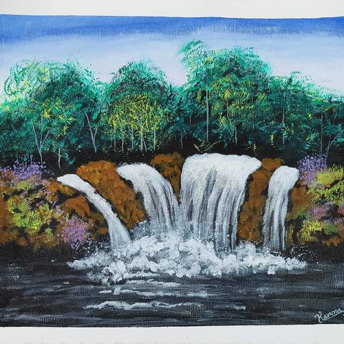 waterfall painting on canvas, 14 x 20 inch, lalit kandpal,14x20inch,canvas,paintings,landscape paintings,nature paintings   scenery paintings,realism paintings,paintings for dining room,paintings for living room,paintings for bedroom,paintings for office,paintings for kids room,paintings for hotel,paintings for school,acrylic color,GAL01729029090