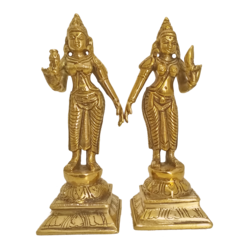 antique brass pair of lakshmies statues, 2 x 6 inch, vgo cart,2x6inch,canvas board,handicrafts,brass statue,brass,GAL01132729091