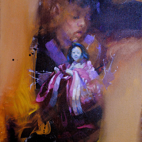 talking to the doll, 12 x 18 inch, raj maji,figurative paintings,paintings for living room,canvas,acrylic color,12x18inch,GAL0121291