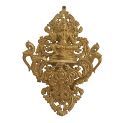 desinged wall hanging bronze goddess lakshmi devi statue, 5 x 13 inch, vgo cart,5x13inch,canvas board,handicrafts,wall hangings,bronze,GAL01132729110