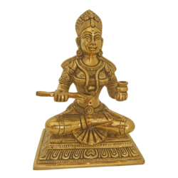 brass statue of goddess annapoorani holding a pot, 3 x 8 inch, vgo cart,3x8inch,canvas board,religious statues,brass,GAL01132729111