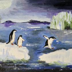 playful penguins, 10 x 8 inch, satabdi roy,10x8inch,canvas board,paintings,nature paintings | scenery paintings,animal paintings,paintings for living room,paintings for bedroom,paintings for office,paintings for hotel,paintings for school,acrylic color,GAL01778729121