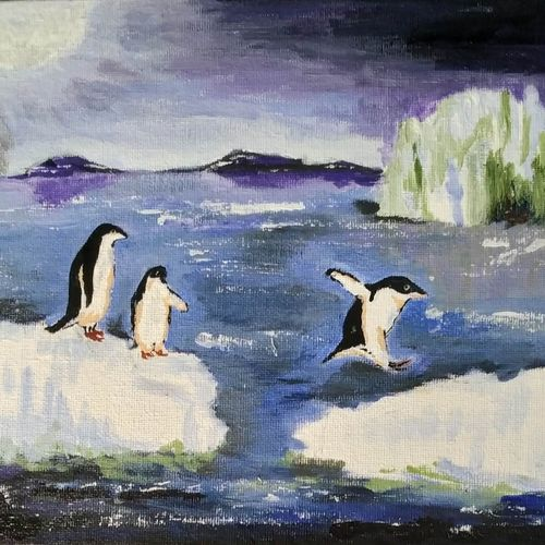 playful penguins, 10 x 8 inch, satabdi roy,10x8inch,canvas board,paintings,nature paintings   scenery paintings,animal paintings,paintings for living room,paintings for bedroom,paintings for office,paintings for hotel,paintings for school,acrylic color,GAL01778729121