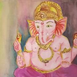 blissful ganesha, 11 x 10 inch, satabdi roy,11x10inch,thick paper,paintings,ganesha paintings | lord ganesh paintings,paintings for living room,paintings for bedroom,paintings for office,paintings for hotel,paintings for hospital,watercolor,GAL01778729122