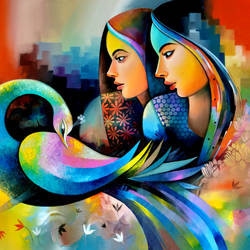 fantasy of beauty 1, 60 x 36 inch, sanjay  tandekar ,60x36inch,canvas,paintings,figurative paintings,contemporary paintings,paintings for living room,acrylic color,GAL0281029124