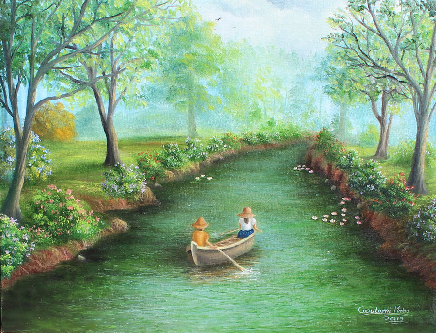 forest boating landscape painting, 24 x 18 inch, goutami mishra,24x18inch,canvas,paintings,wildlife paintings,figurative paintings,flower paintings,landscape paintings,modern art paintings,nature paintings | scenery paintings,art deco paintings,impressionist paintings,photorealism paintings,photorealism,realism paintings,contemporary paintings,realistic paintings,love paintings,kids paintings,paintings for dining room,paintings for living room,paintings for bedroom,paintings for office,paintings for kids room,paintings for hotel,paintings for school,oil color,GAL046529126