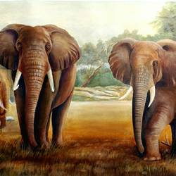 elephants, 31 x 21 inch, sutapa paul,31x21inch,canvas,paintings,wildlife paintings,nature paintings | scenery paintings,minimalist paintings,photorealism paintings,photorealism,realism paintings,surrealism paintings,animal paintings,elephant paintings,paintings for dining room,paintings for living room,paintings for bedroom,paintings for office,paintings for hotel,acrylic color,GAL01798829132