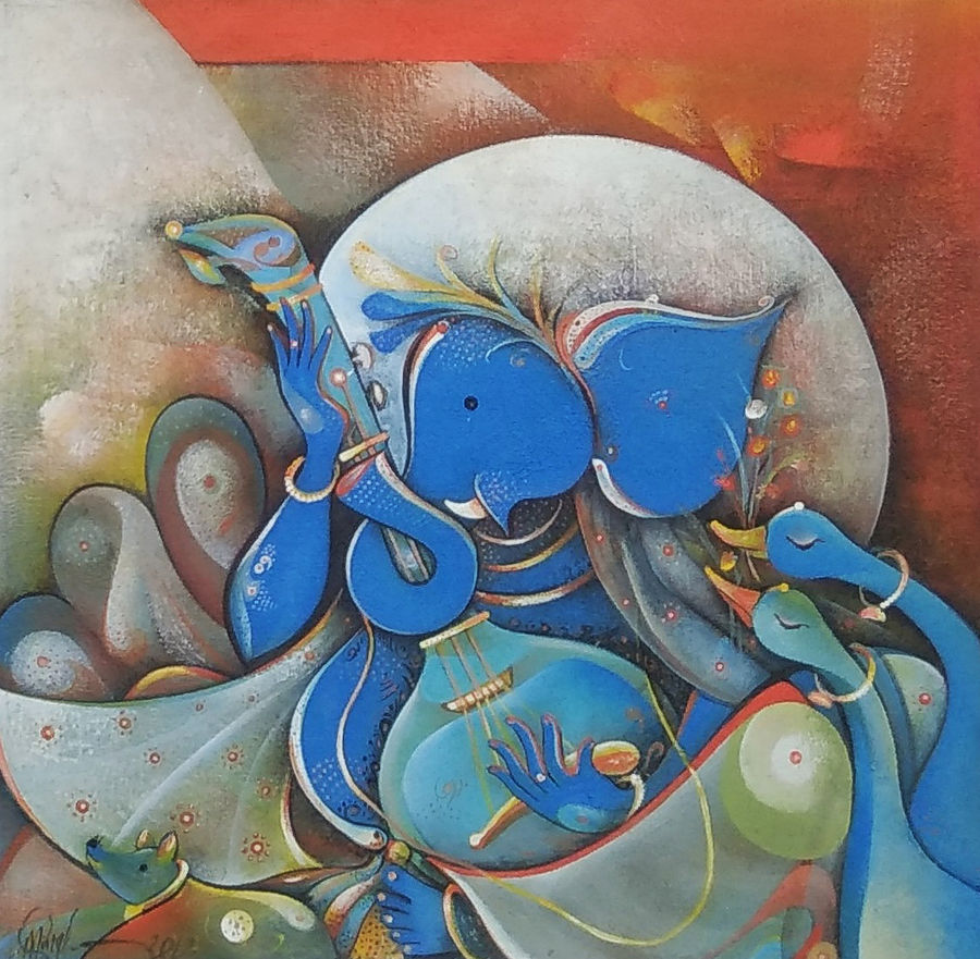 musician ganesha, 18 x 18 inch, m. singh,18x18inch,canvas,paintings,figurative paintings,modern art paintings,religious paintings,realism paintings,ganesha paintings | lord ganesh paintings,paintings for dining room,paintings for living room,paintings for office,paintings for kids room,paintings for hotel,paintings for school,paintings for hospital,modern drawings,acrylic color,GAL0537729146