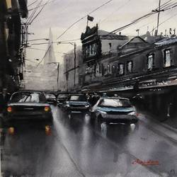 rainy day, 10 x 12 inch, t v ramachandran ,10x12inch,renaissance watercolor paper,paintings,cityscape paintings,paintings for living room,paintings for hotel,paintings for living room,paintings for hotel,watercolor,GAL01799329147