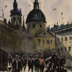 moscow, 6 x 8 inch, t v ramachandran ,6x8inch,renaissance watercolor paper,paintings,cityscape paintings,paintings for living room,paintings for hotel,paintings for living room,paintings for hotel,watercolor,GAL01799329148