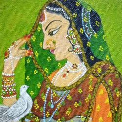 queen with bird , 4 x 5 inch, atul patel,4x5inch,canvas,miniature painting.,acrylic color,GAL01091429149