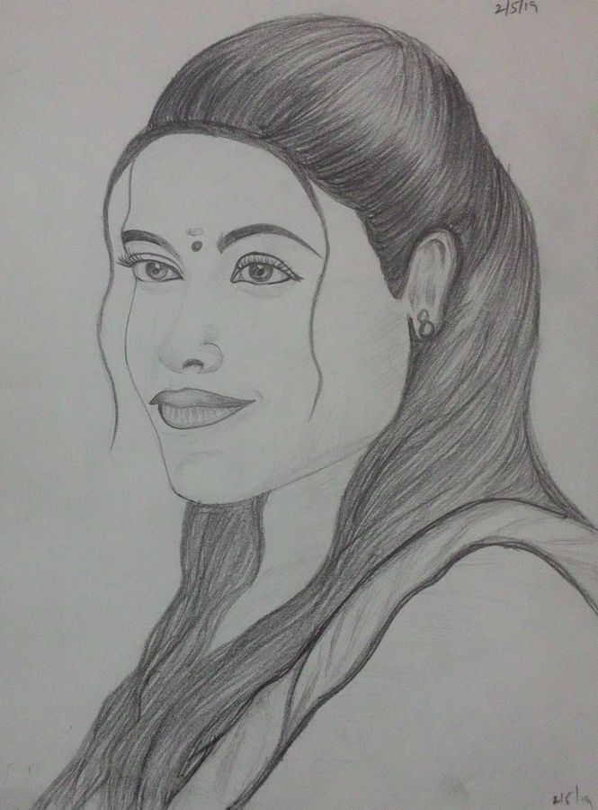 Buy Girl Potrait Pencil Art Painting At Lowest Price By Geetha Murugesan