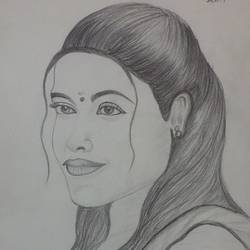 girl potrait pencil art, 8 x 11 inch, geetha murugesan,8x11inch,thick paper,figurative drawings,pencil color,GAL01799229151