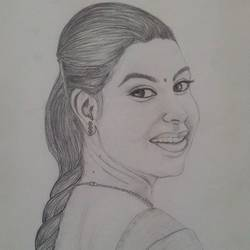 smiling girl potrait pencil art, 8 x 11 inch, geetha murugesan,8x11inch,thick paper,drawings,figurative drawings,pencil color,GAL01799229152