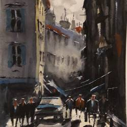 long shadows, 6 x 8 inch, t v ramachandran ,6x8inch,renaissance watercolor paper,paintings,cityscape paintings,paintings for living room,paintings for hotel,watercolor,GAL01799329155