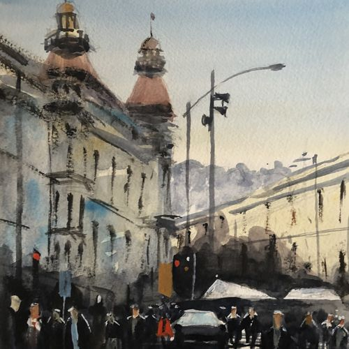 evening business, 6 x 8 inch, t v ramachandran ,6x8inch,renaissance watercolor paper,paintings,cityscape paintings,paintings for living room,paintings for hotel,watercolor,GAL01799329156