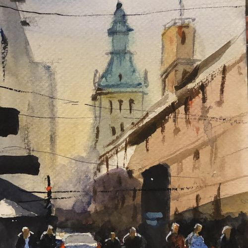 european town, 6 x 8 inch, t v ramachandran ,6x8inch,renaissance watercolor paper,paintings,cityscape paintings,paintings for living room,paintings for hotel,watercolor,GAL01799329157