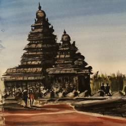 shore pagoda, 16 x 12 inch, t v ramachandran ,16x12inch,renaissance watercolor paper,paintings,nature paintings | scenery paintings,paintings for living room,paintings for hotel,watercolor,GAL01799329158