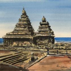pagoda mamalla, 12 x 10 inch, t v ramachandran ,12x10inch,renaissance watercolor paper,photorealism paintings,paintings for living room,paintings for hotel,paintings for living room,paintings for hotel,watercolor,GAL01799329159