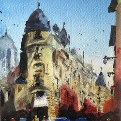 paris corner, 6 x 8 inch, t v ramachandran ,6x8inch,canson paper,cityscape paintings,paintings for living room,paintings for hotel,paintings for living room,paintings for hotel,watercolor,GAL01799329160