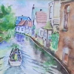 water transport in venis, 27 x 22 inch, ranjith babu a k,27x22inch,paper,paintings,cityscape paintings,paintings for dining room,paintings for living room,paintings for bedroom,paintings for office,paintings for hotel,watercolor,paper,GAL01796529188